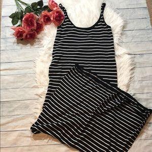 Zara Knit Black & White Stripe Maxi Dress
